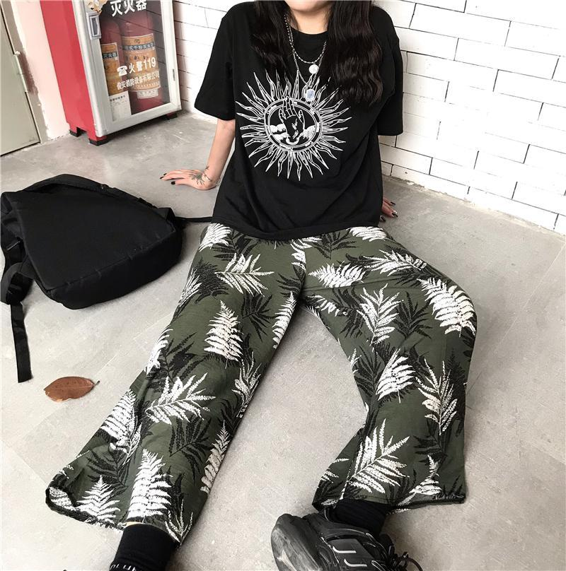 SUN PRINT BLACK T-SHIRT + PALM LEAVES PRINT PANTS 2 PIECE SET