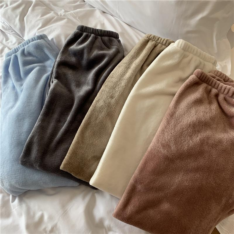 itGirl Shop SWEET COLORS COMFY WARM VELVET ELASTIC WAIST PANTS