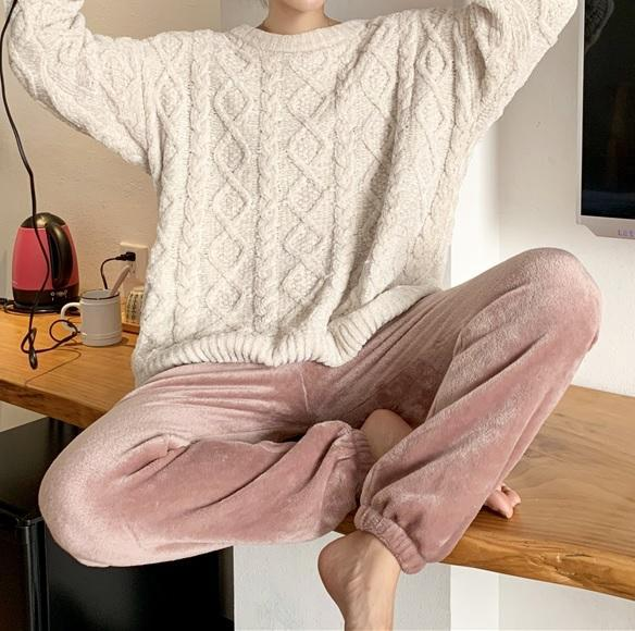 SWEET COLORS COMFY WARM VELVET ELASTIC WAIST PANTS