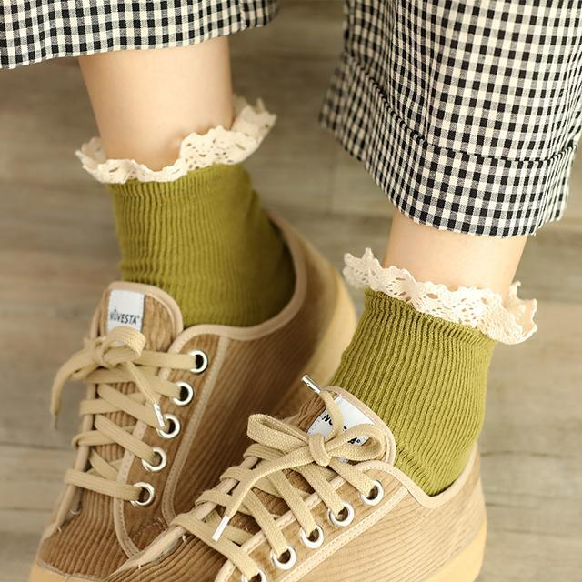 itGirl Shop SWEET LACE RUFFLES EDGE VINTAGE PRINCESS SOCKS