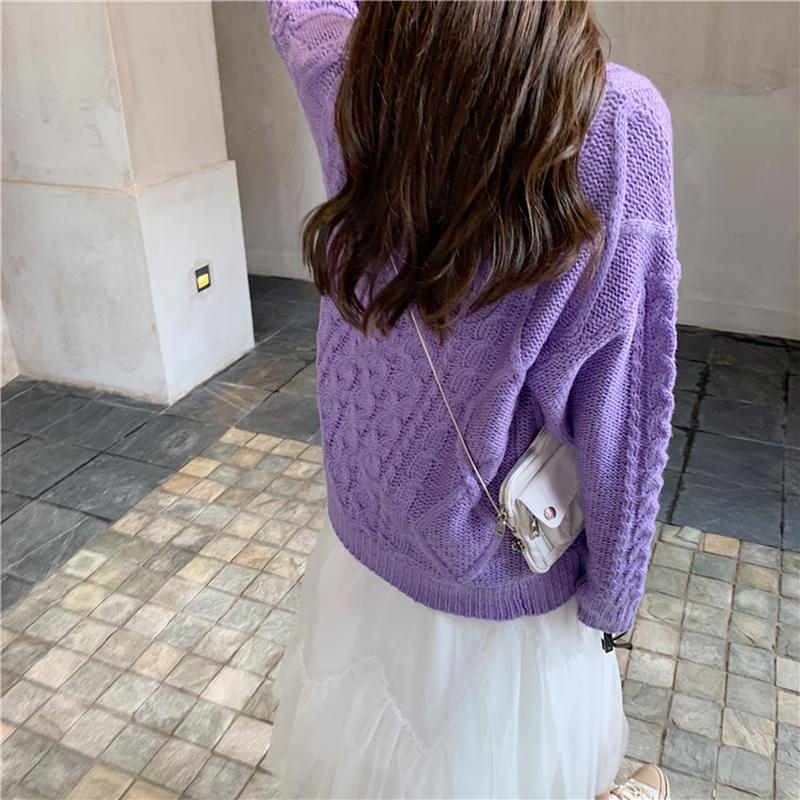 itGirl Shop SWEET LILAC KNIT BRAIDS VINTAGE CARDIGAN SWEATER