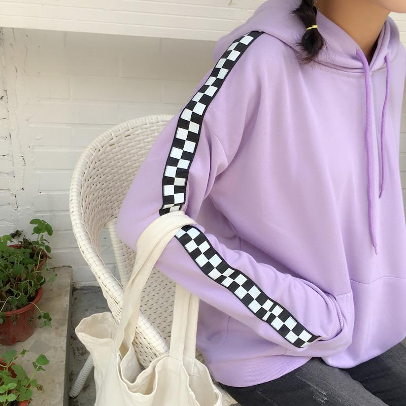 itGirl Shop SWEET LILAC SIDE CHECKERED OVERSIZE HOODIE