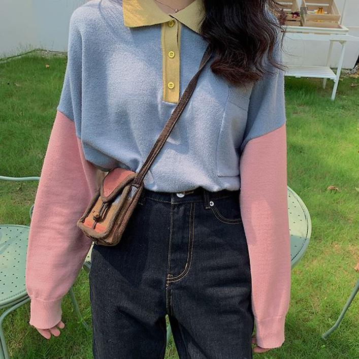 itGirl Shop SWEET PASTEL COLORS POLO COLLAR OVERSIZED SWEATSHIRT