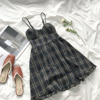 itGirl Shop TARTAN PLAID THIN STRAPS ELASTIC BAND BRA DRESS
