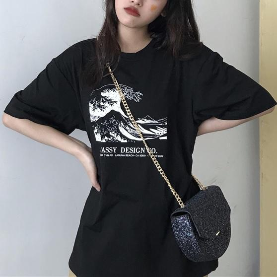itGirl Shop THE GREAT WAVE PRINT WHITE BLACK LOOSE T-SHIRT