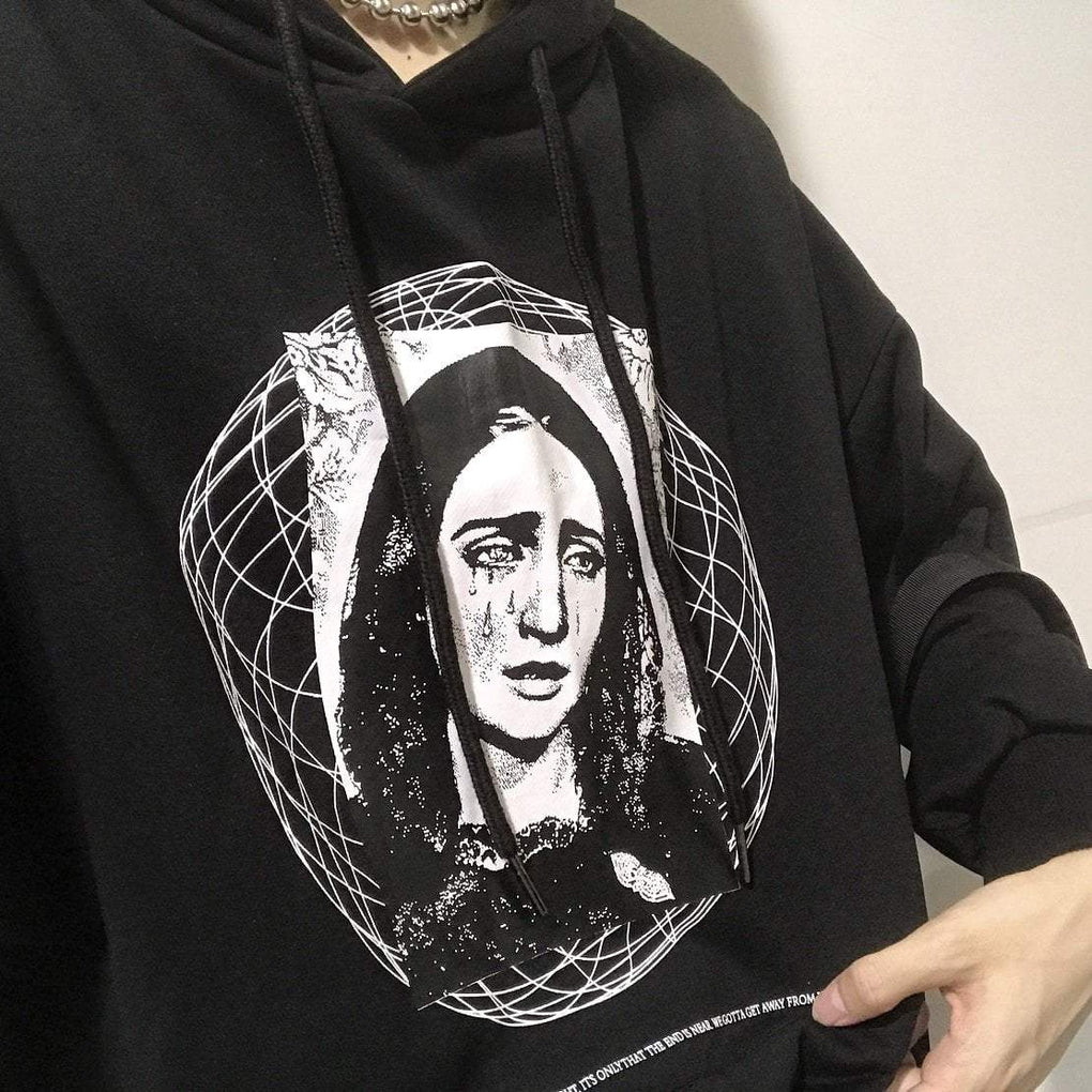 itGirl Shop THE VIRGIN MARY PATTERN LOOSE BLACK HOODED SWEATSHIRT