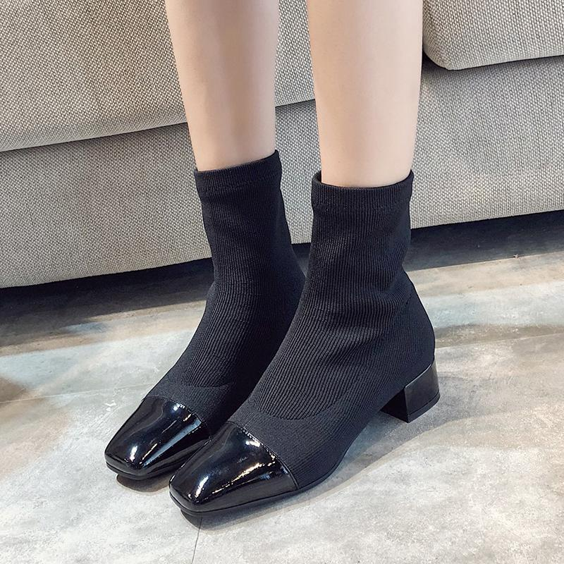 itGirl Shop THICK HEEL ELASTIC KNIT SOCK SQUARE TOE BOOTS