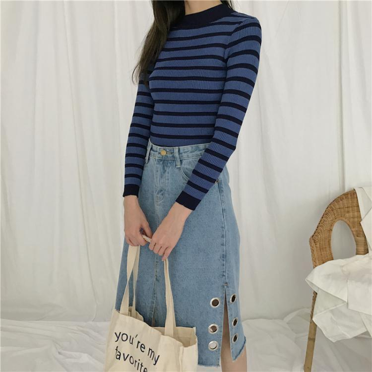 itGirl Shop THICK STRIPES KNIT AUTUMN SPRING SLIM LONG SLEEVE SHIRT