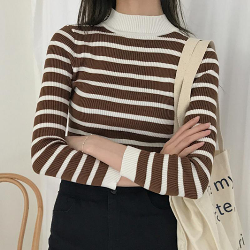 THICK STRIPES KNIT AUTUMN SPRING SLIM LONG SLEEVE SHIRT