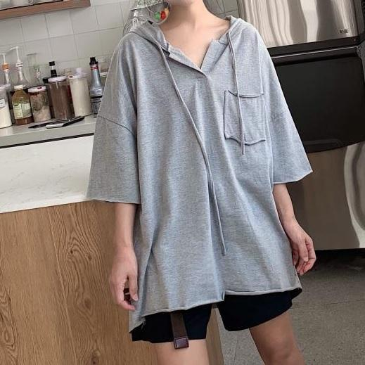 itGirl Shop THIN BREAST POCKET OVERSIZED LONG V-NECK HOODIE