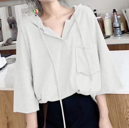 THIN BREAST POCKET OVERSIZED LONG V-NECK HOODIE