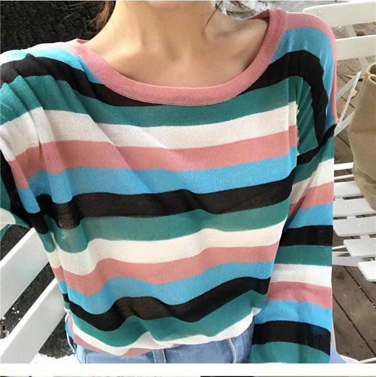 itGirl Shop THIN LIGHT KNIT SUMMER COLORFUL STRIPES LONG SLEEVE