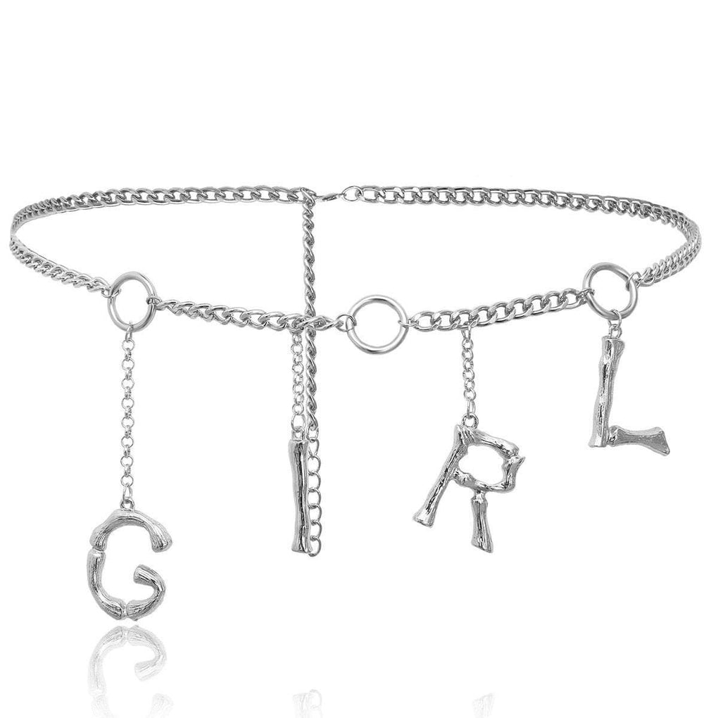 itGirl Shop THIN METAL CHAINS SILVER GOLDEN LETTERS WAIST BELT