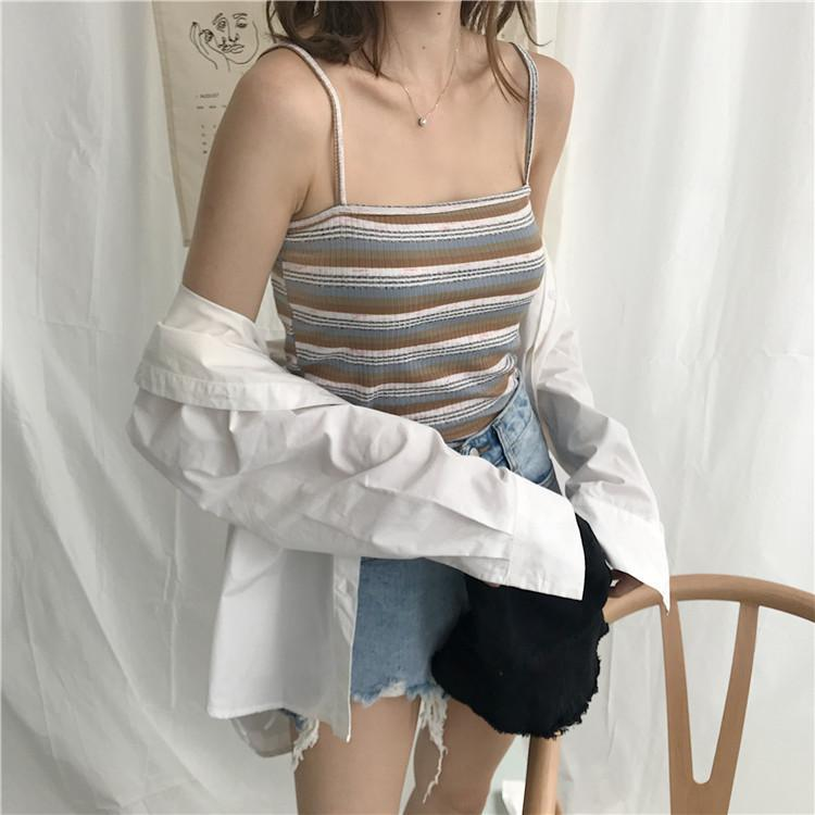 itGirl Shop THIN STRAPPS STRIPES SLIM OPEN SHOULDERS SUMMER CROP TOP