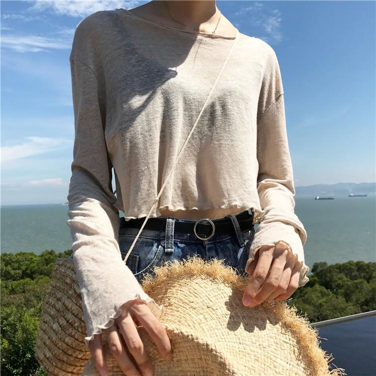itGirl Shop THIN SUMMER FLAT KNIT LONG SLEEVE O-NECK SLIM BLOUSE SHIRT