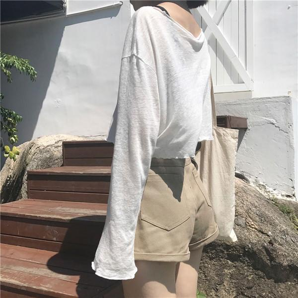 itGirl Shop THIN SUMMER FLAT KNIT LONG SLEEVE O-NECK SLIM BLOUSE SHIRT Aesthetic Apparel, Tumblr Clothes, Soft Grunge, Pastel goth, Harajuku fashion. Korean and Japan Style looks