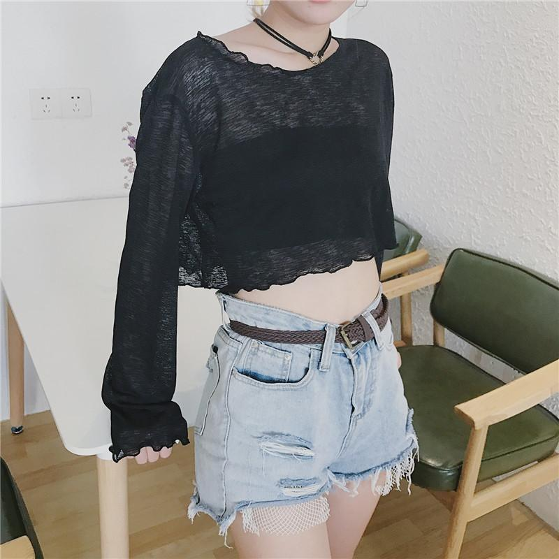 itGirl Shop THIN SUMMER LIGHT CROP LONG SLEEVE BLOUSE TOP