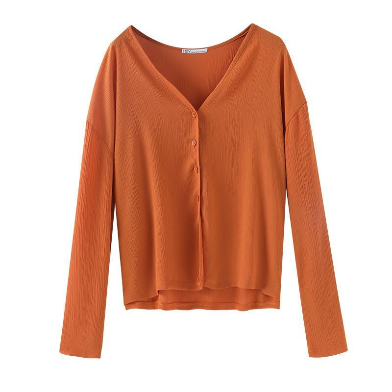THIN SUMMER V-NECK LOOSE ORANGE BLACK PINK SHIRT