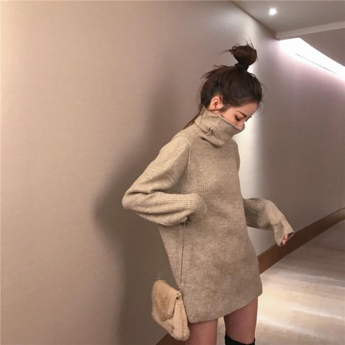 itGirl Shop THIN TURTLE NECK KNIT RIBBED LONG SWEATER