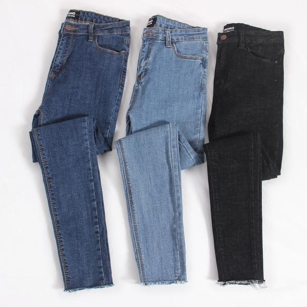 itGirl Shop THREE COLOR SKINNY SEWED ANKLE CUTTED DENIM JEANS