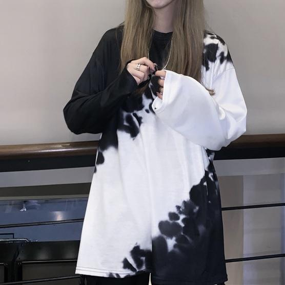 itGirl Shop TIE DYE 90s AESTHETIC BLACK AND WHITE LOOSE SHIRT