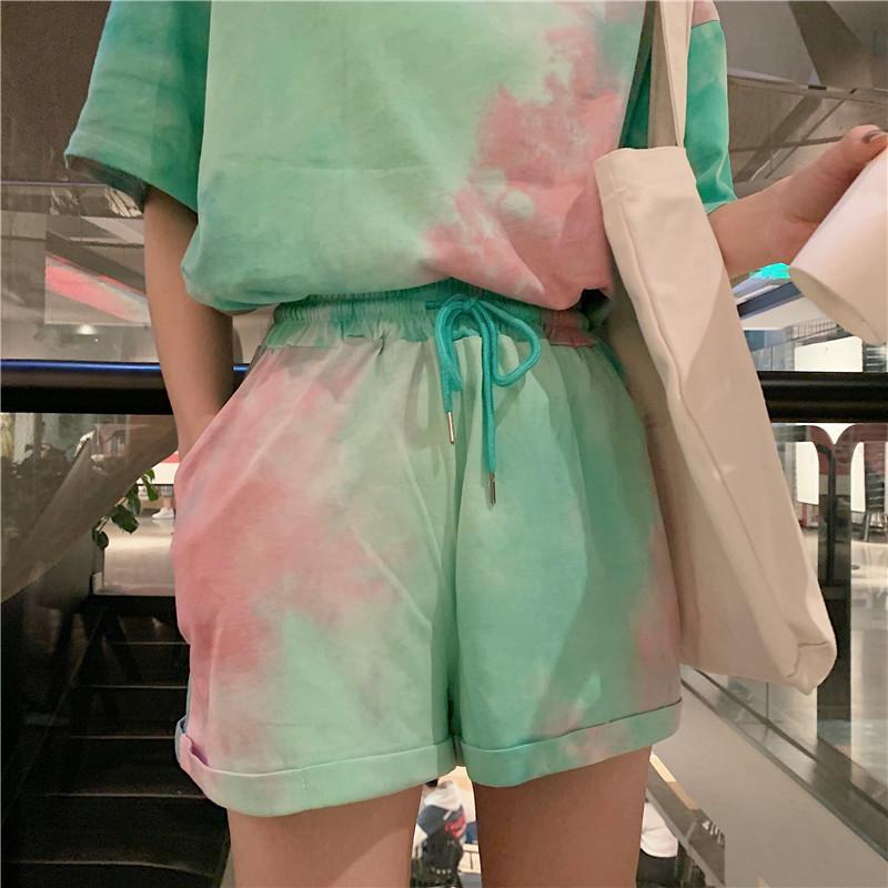 TIE DYE COLORS PRINT THIN LOOSE T-SHIRT SHORTS SET