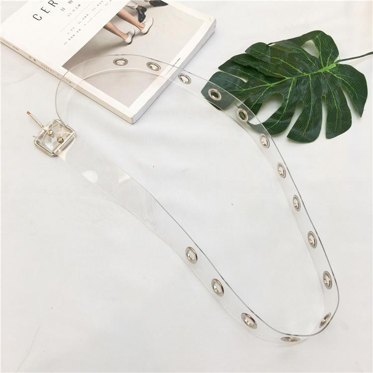 itGirl Shop TRANSPARENT AESTHETIC METALLIC HOLES RUBBER BELT
