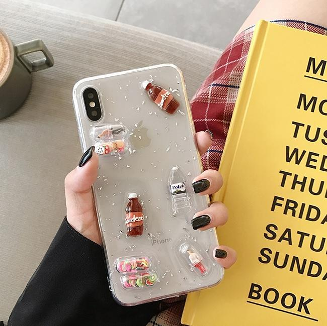 itGirl Shop TRANSPARENT BOTTLES CAPSULES IPHONE COVER CASE