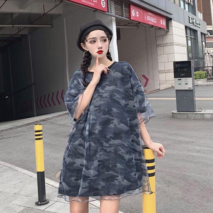 itGirl Shop TRANSPARENT CAMOUFLAGE PATTERN OVERSIZED LONG T-SHIRT