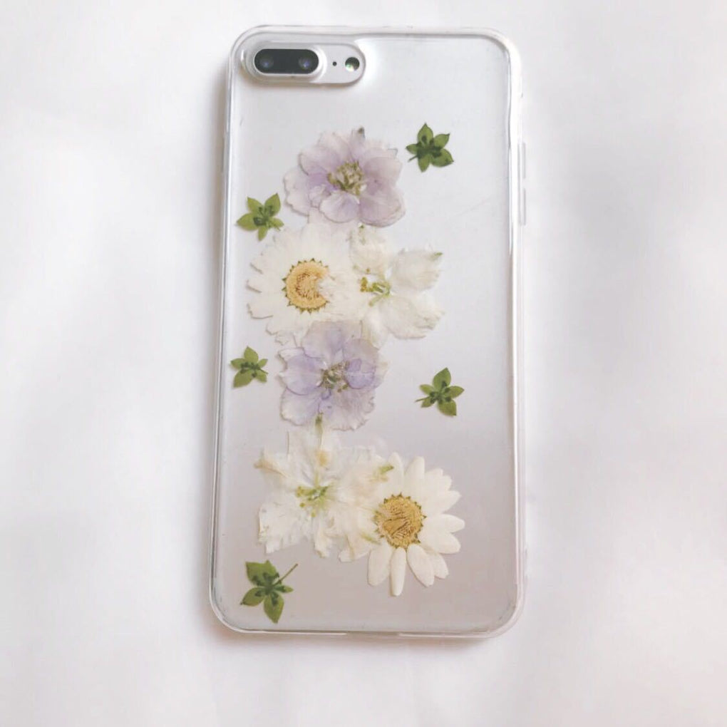 itGirl Shop TRANSPARENT CUTE FLOWERS HERBARIUM IPHONE COVER CASE