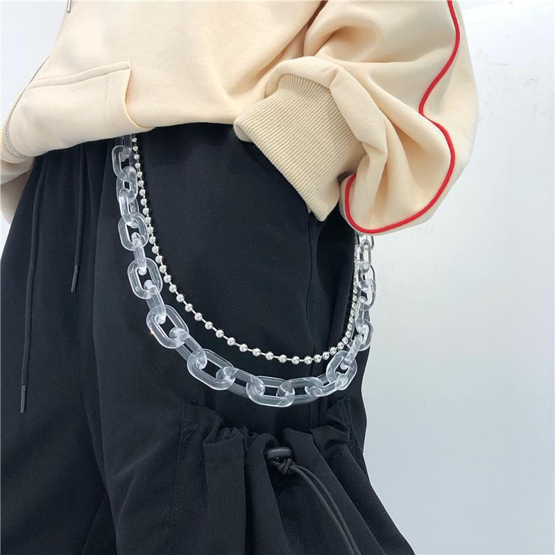 itGirl Shop TRANSPARENT DOUBLE BEAD NEON COLOR WAIST CHAINS