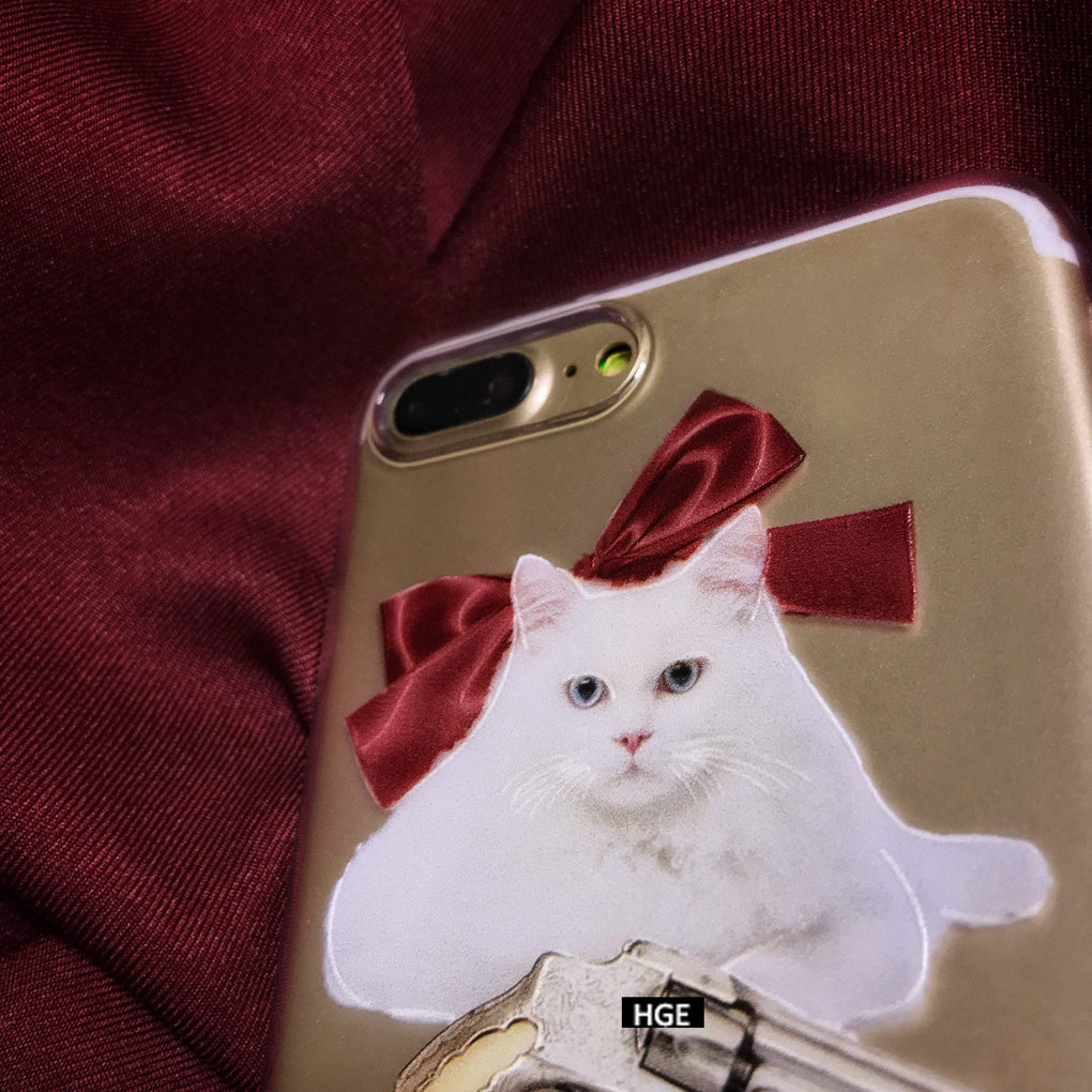 itGirl Shop TRANSPARENT FUNNY CAT REVOLVER IPHONE COVER CASE