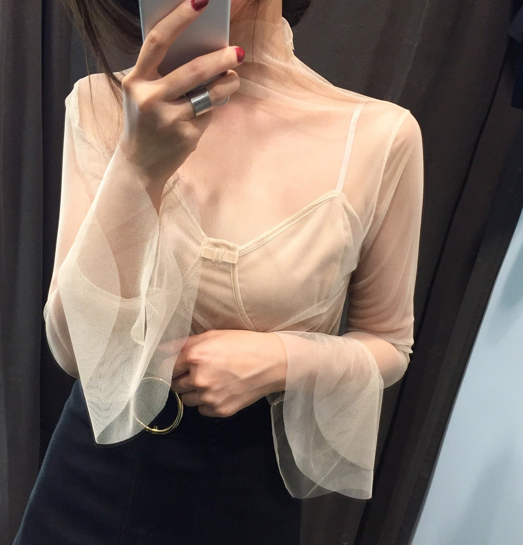 itGirl Shop TRANSPARENT GAUZE VOLUME SLEEVE LIGHT BLOUSE Aesthetic Apparel, Tumblr Clothes, Soft Grunge, Pastel goth, Harajuku fashion. Korean and Japan Style looks
