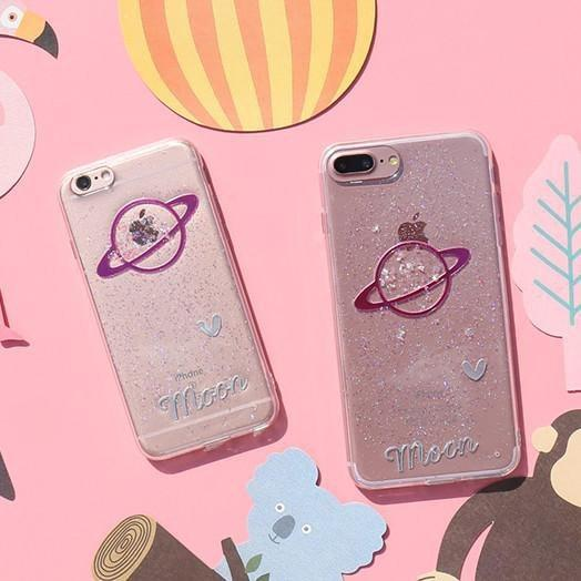 itGirl Shop TRANSPARENT GLITTER SATURN PLANET PHONE CASE