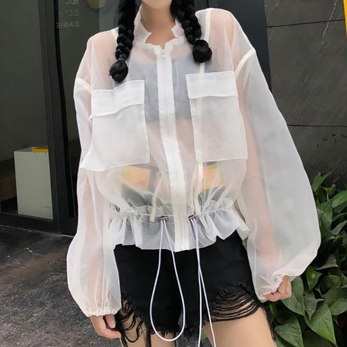 TRANSPARENT GRAY WHITE OVERSIZED ZIPPER JACKET