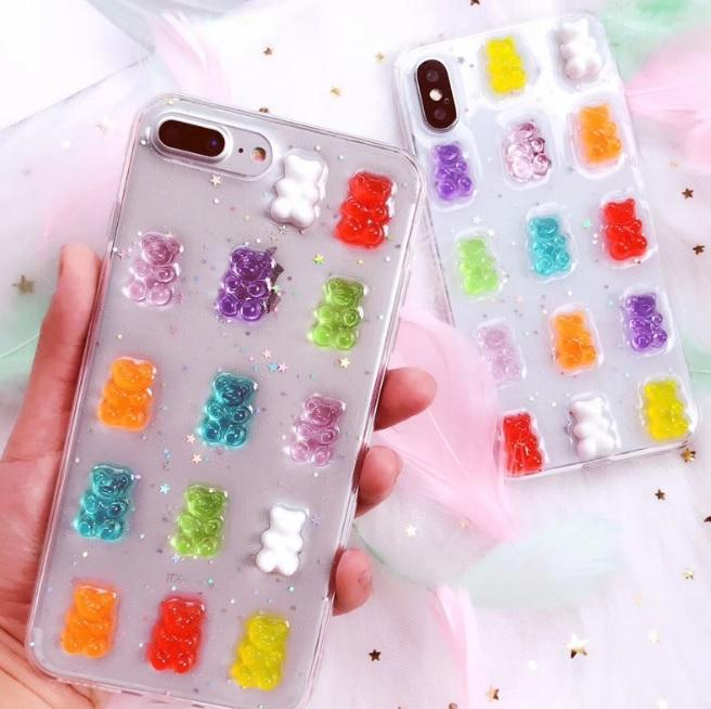 itGirl Shop TRANSPARENT GUMMY BEARS CANDY COLORS COVER CASE