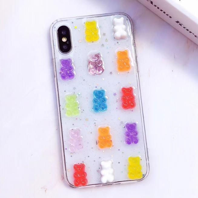 TRANSPARENT GUMMY BEARS CANDY COLORS COVER CASE