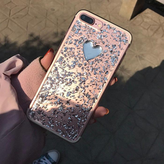 itGirl Shop TRANSPARENT METALLIC FLAKES SILVER HEART IPHONE 7 COVER