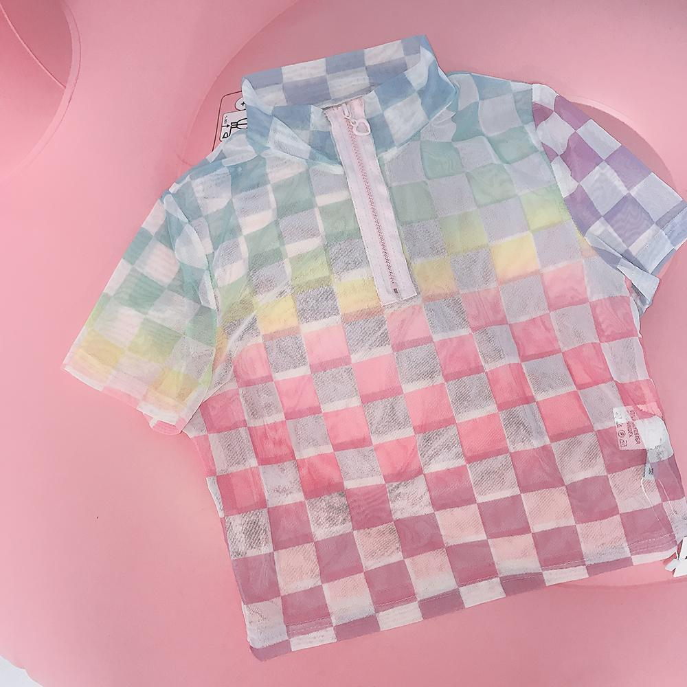 itGirl Shop TRANSPARENT PASTEL COLORS CHECKER CROPPED SHIRT