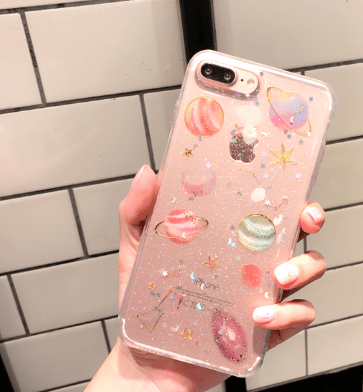 itGirl Shop TRANSPARENT SILICONE PLANETS GLITTER IPHONE CASE