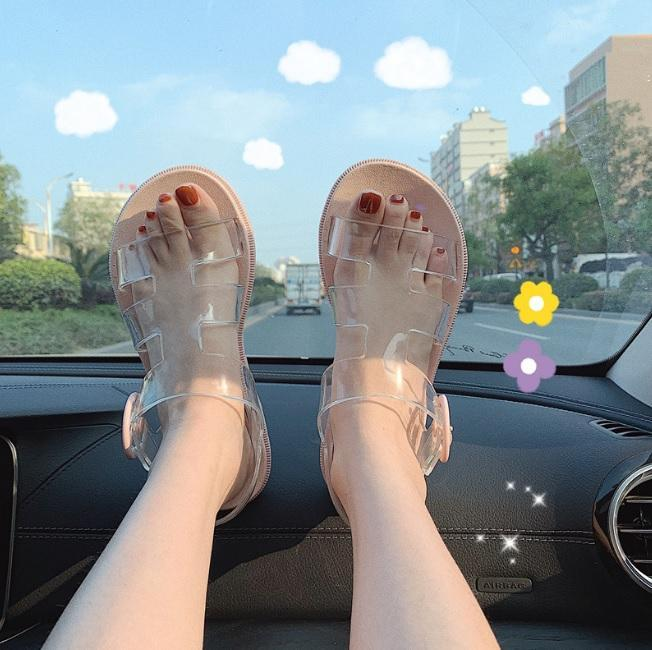 itGirl Shop TRANSPARENT STRIPS KAWAII FLAT OPEN TOE SUMMER SANDALS