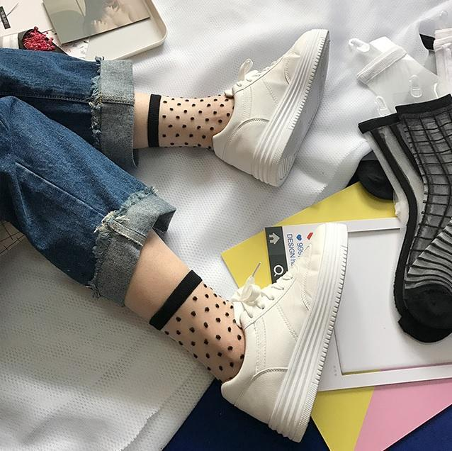 itGirl Shop TRANSPARENT THIN STYLE BLACK KNIT DETAILS SOCKS