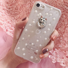 TRANSPARENT VINTAGE PEARLS CUTE CAT IPHONE COVER CASE