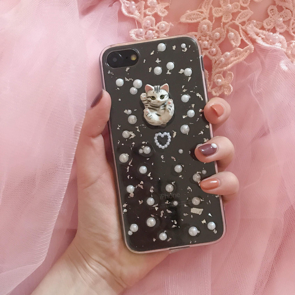 itGirl Shop TRANSPARENT VINTAGE PEARLS CUTE CAT IPHONE COVER CASE
