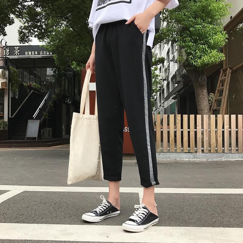 TRENDY SPORTISH SIDE GLITTERS LINES OVERSIZED PANTS