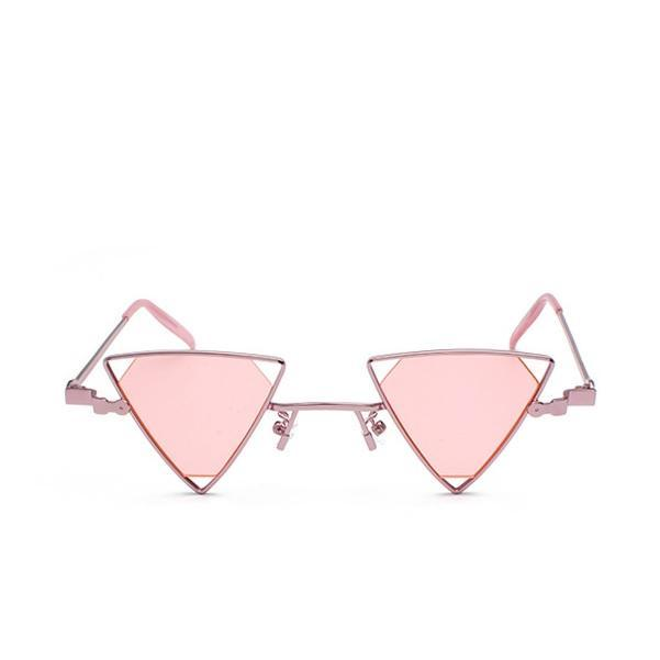 itGirl Shop TRIANGLE FUTURISTIC METALLIC FRAME SUNGLASSES