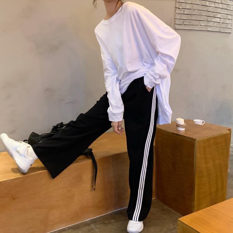 itGirl Shop TRIPLE SIDE LINES STRAIGHT 90s AESTHETIC LOOSE PANTS