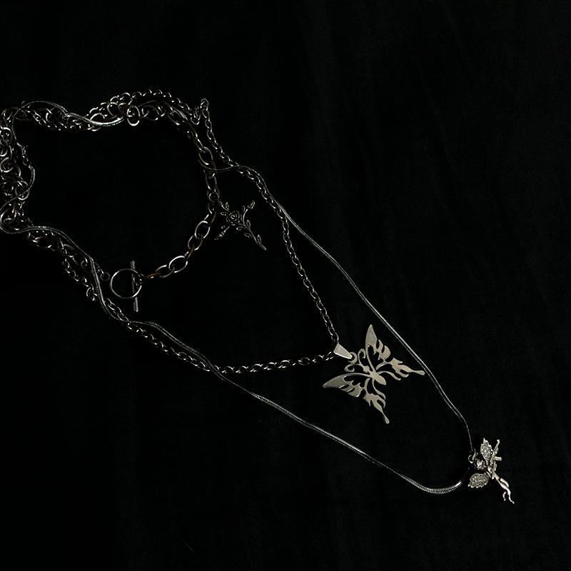 itGirl Shop TUMBLR GRUNGE SET OF SILVER CHAINS AND PENDANTS NECKLACE