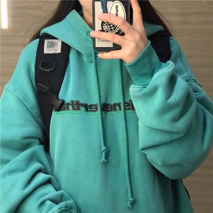 itGirl Shop TURQUOISE RETRO PRINTED LETTERS HOODED LOOSE SWEATSHIRT