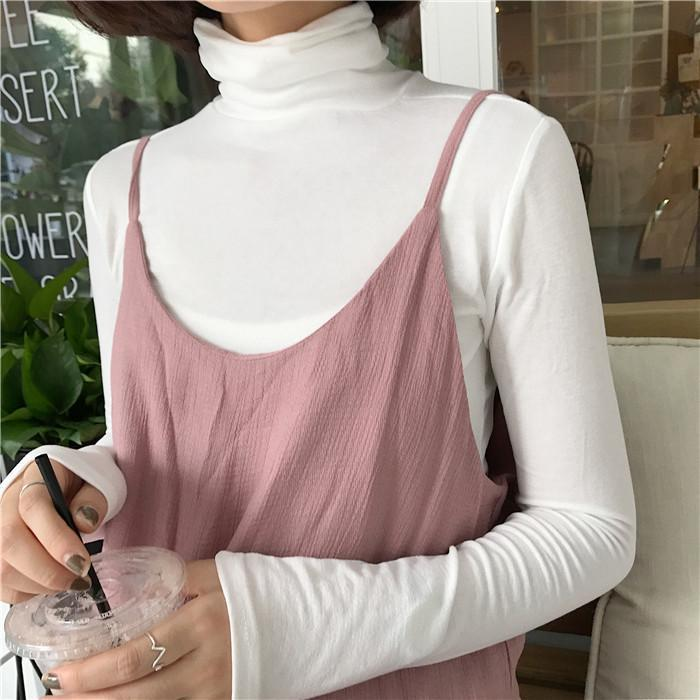 itGirl Shop TURTLE NECK BASIC LONG SLEEVE COLORFUL SLIM FLAT KNIT BLOUSES